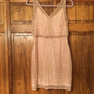 Adrianna Papell Light Pink Beaded Dress!